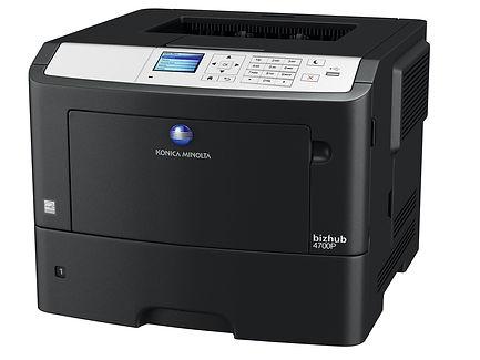Impresora láser Blanco y Negro B&N formato A4 Konica Minolta BH4700P especial para oficinas corporativas 47 páginas por minuto en formato A4, incluye dúplex, red gigabit y tóner de alta duración de 20.000 impresiones por tóner.