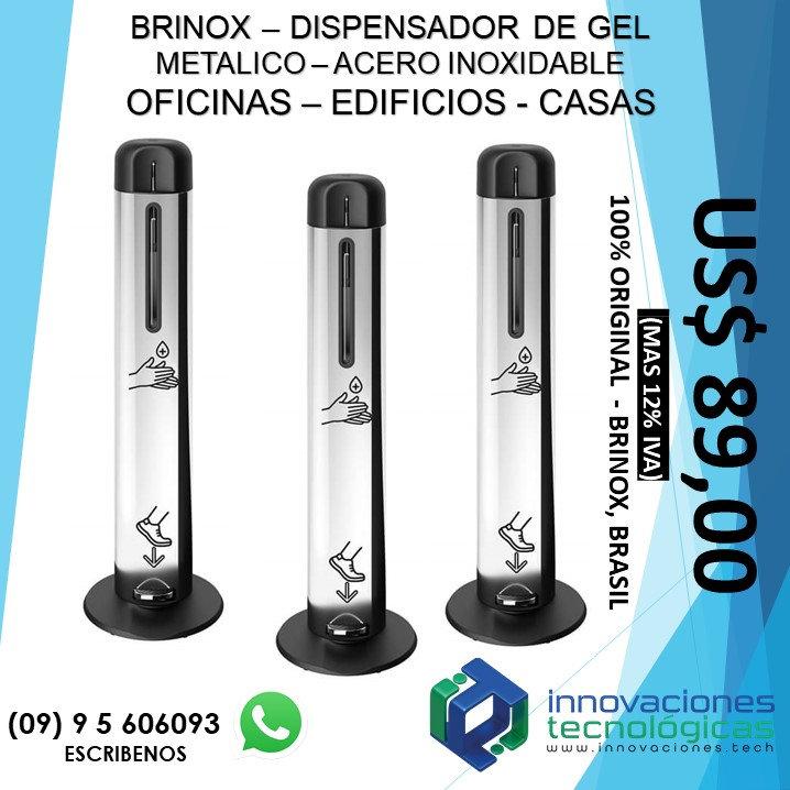 Dispensador de Gel Metálico Acero Inoxidable Brinox con Pedal para Piso
