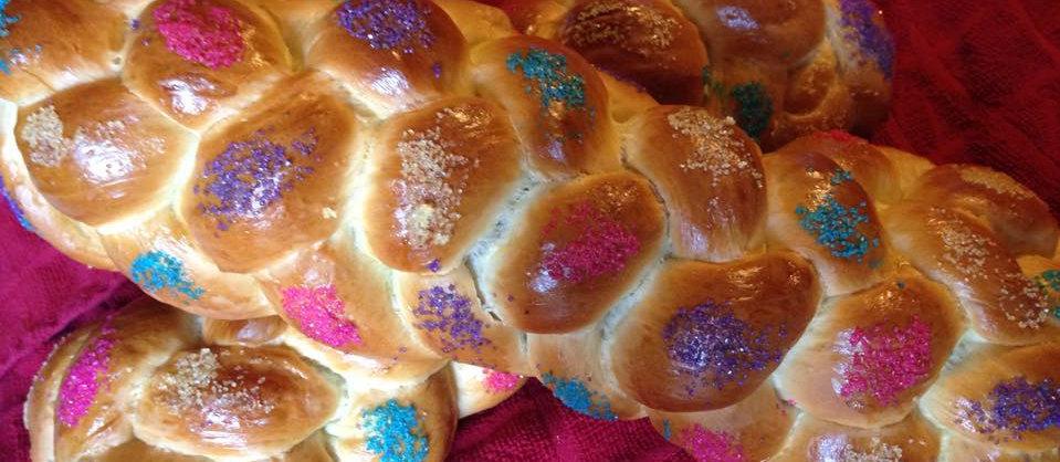 Bat Mitzvah six braid Challah with color sugar
