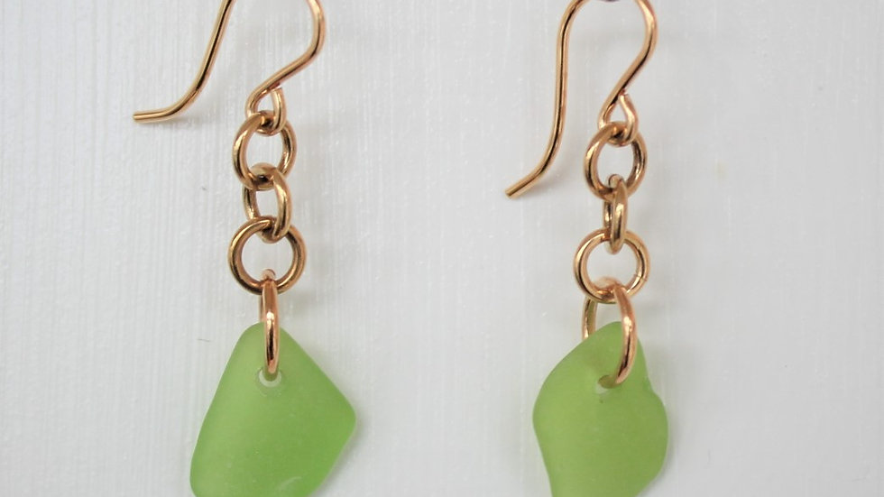 Lime Green Sea Glass 14k Gold Filled Earrings by Victoria -19249