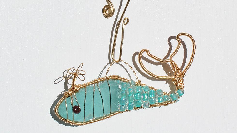 Whale Sea Glass Ornament by Victoria -19317
