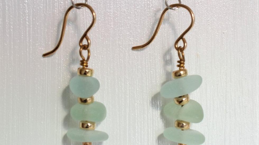 Seafoam Sea Glass 14k Gold Filled Earrings by Victoria-18360