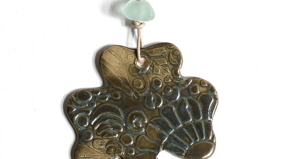 Dark Green Shamrock Ceramic Ornament w/ Sea Glass by Jen -9089