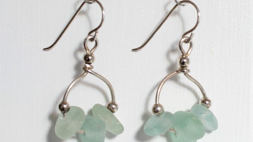 Aqua Sea Glass Sterling Silver Earrings by Victoria -18411