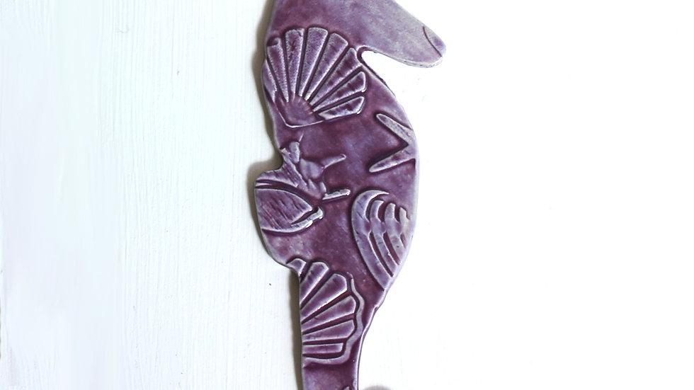 Purple Seahorse Ceramic Ornament by Jen -9296
