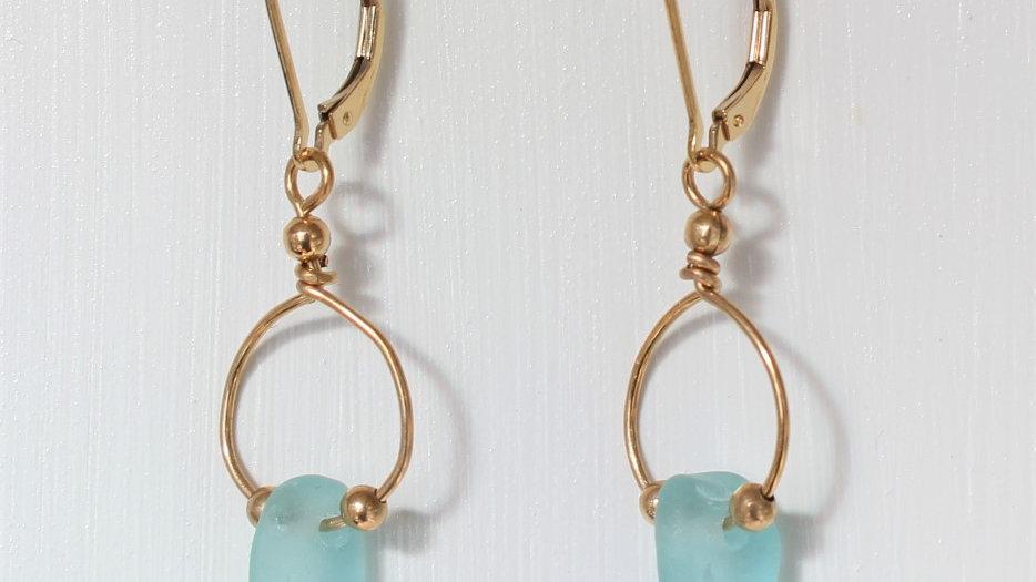 Aqua Sea Glass 14k Gold Filled Earrings by Victoria -19107