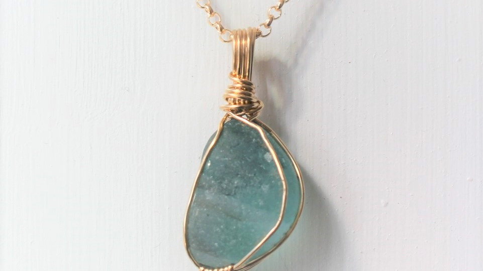 Teal Multi Sea Glass 14k Gold Filled Necklace by Victoria -20003