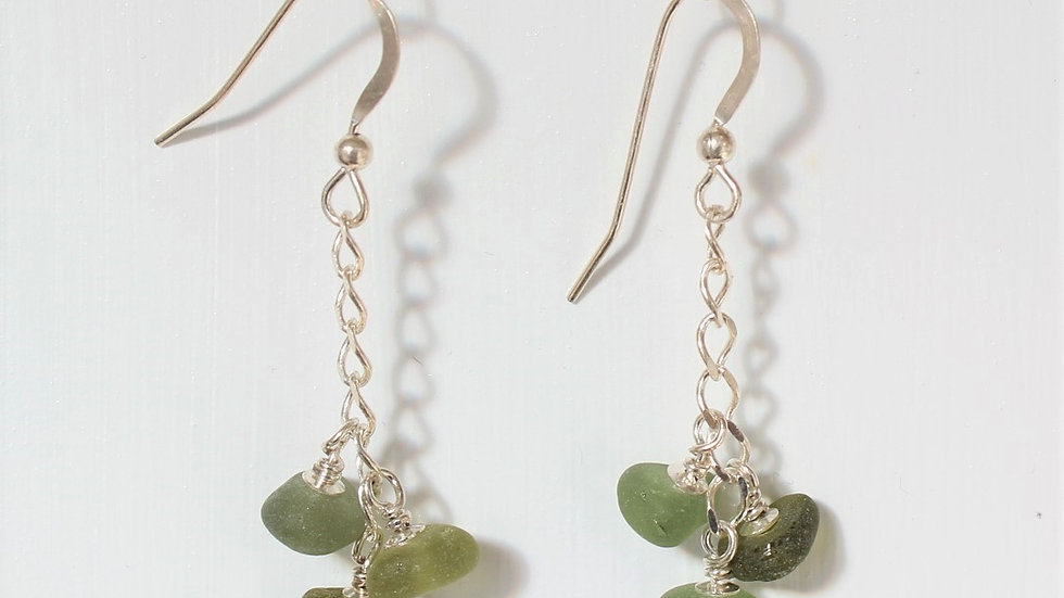 Olive Green Sea Glass Sterling Silver Earrings by Nicola -203