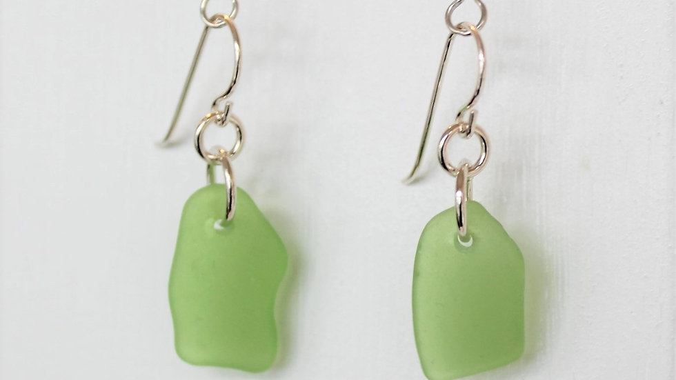 Green Sea Glass Sterling Silver Earrings by Victoria -20030