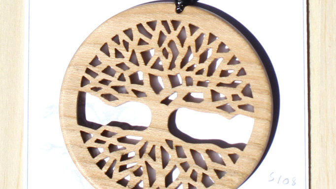 Tree of Life Carved Wood Pendant on 20 inch leather cord - Cherry