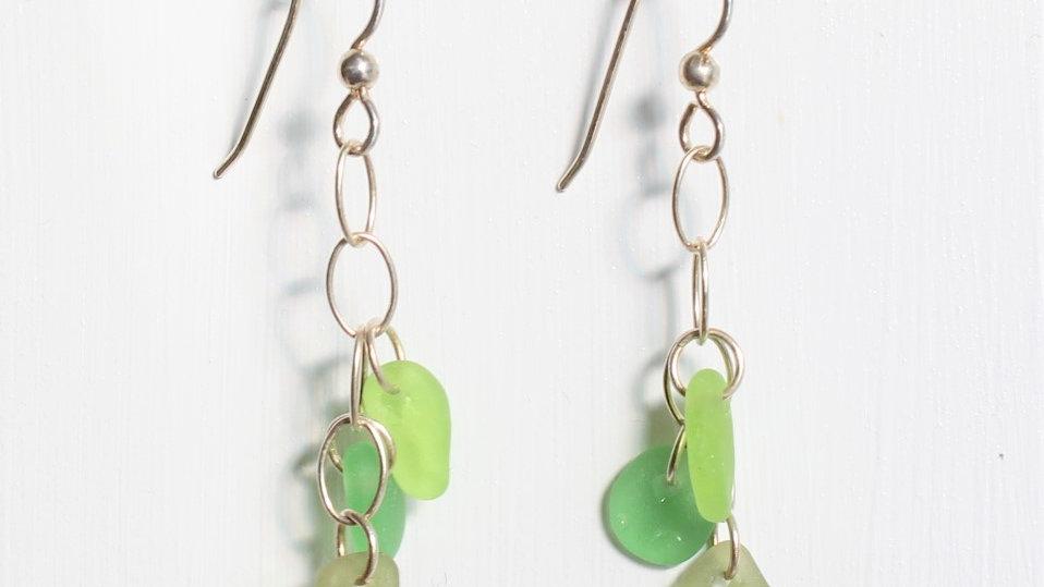 Green Sea Glass Sterling Silver Dangle Earrings by Nicola -138
