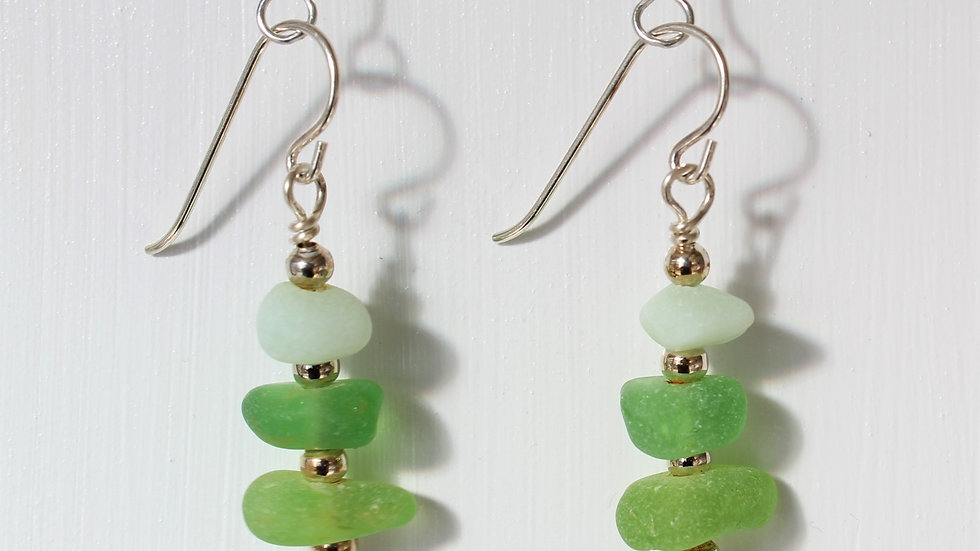 Green Sea Glass Sterling Silver Earrings by Victoria -19016