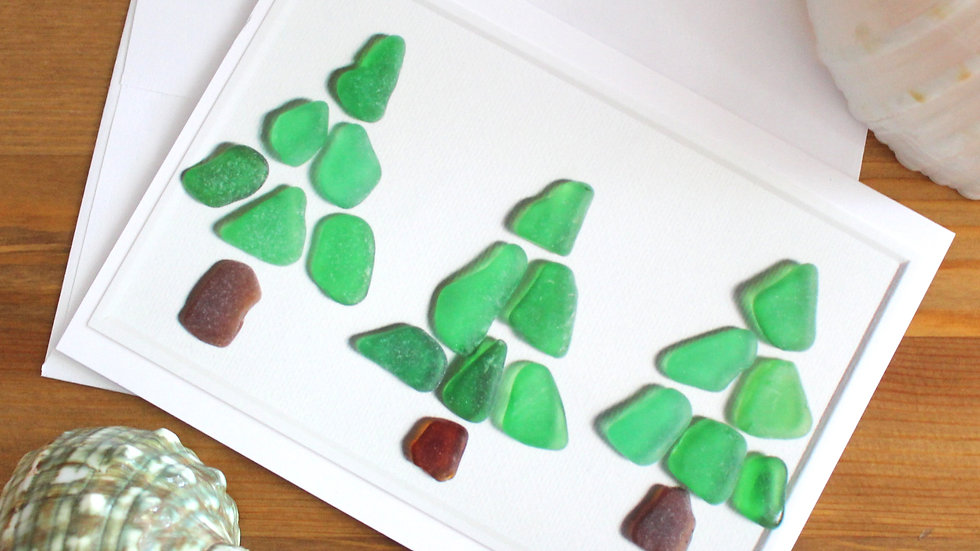 Three Trees Sea Glass Photo Card by Eileen