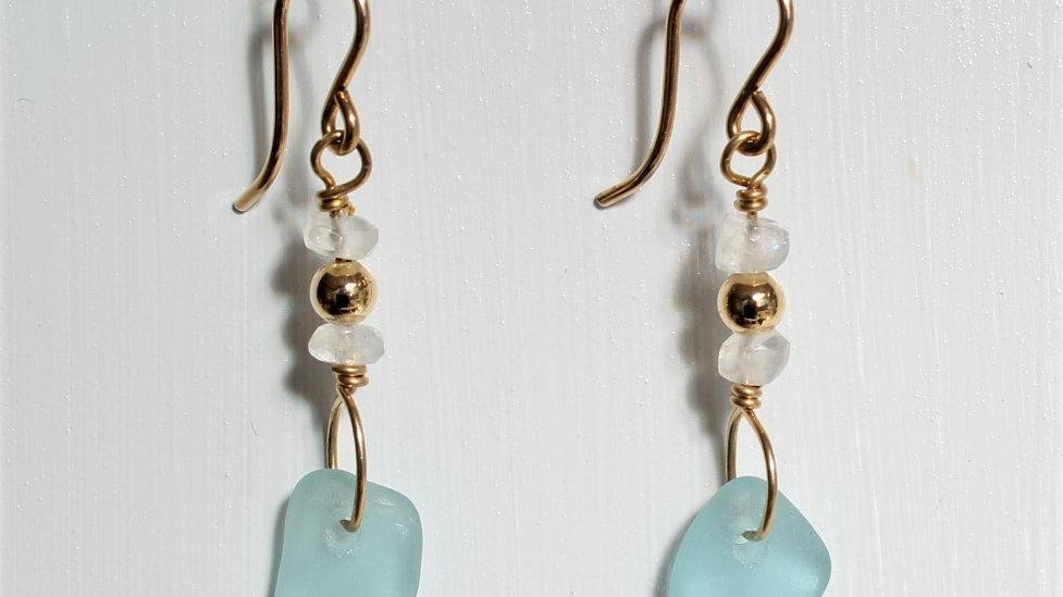 Aqua Sea Glass 14k Gold Filled Earrings by Victoria -19248