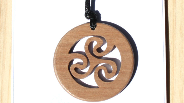 Triskele Carved Wood Pendant on 18 inch leather cord - Walnut