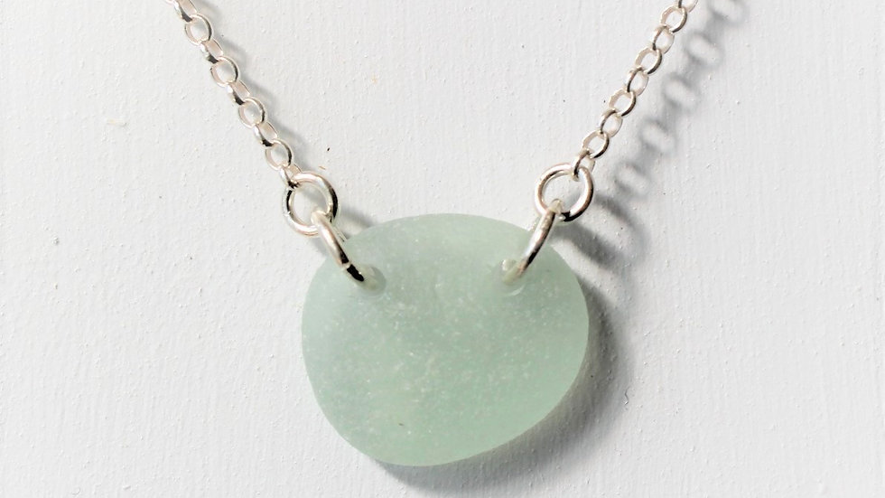 Seafoam Double Drilled Sea Glass Sterling Silver Necklace by Nicola -464