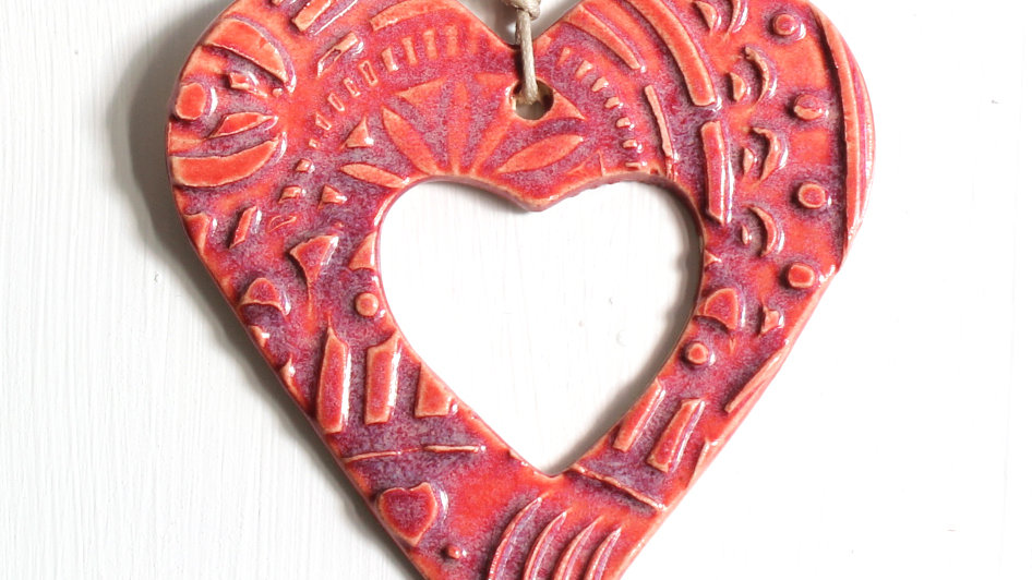 Red Heart Ceramic Ornament by Jen -9072
