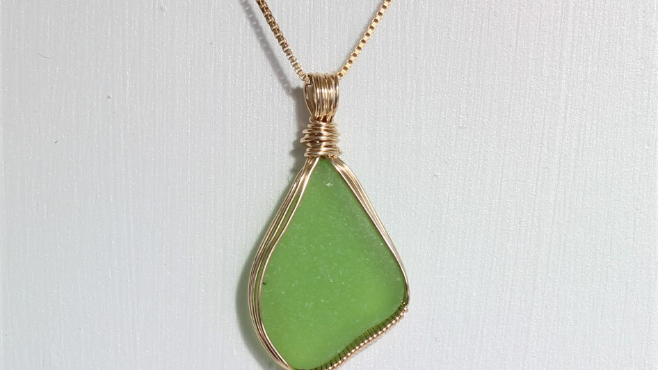 Lime Green Sea Glass 14k Gold Filled Necklace by Victoria -20053a