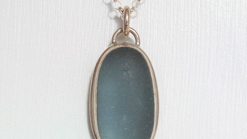 Blue Grey Sea Glass Sterling Silver Bezel Neclace by Nicola -vsgbez01