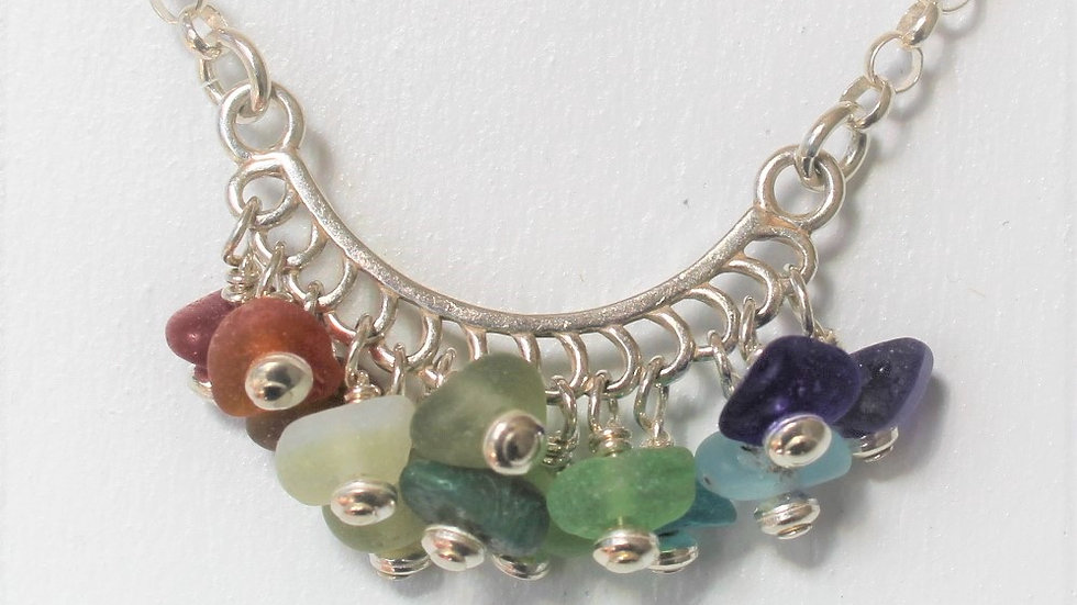 Rainbow Sea Glass Sterling Silver Festoon Necklace by Nicola -252
