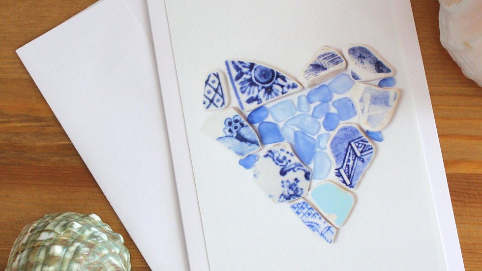 Blue Heart Sea Glass Pottery Photo Card by Eileen