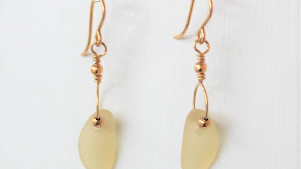 Yellow Sea Glass 14k Gold Filled Earrings by Victoria -19026