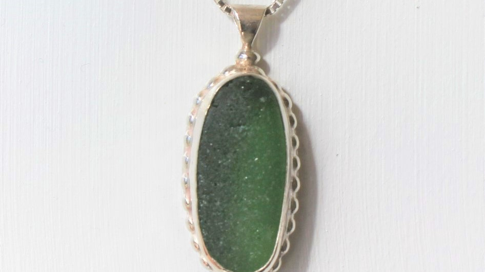 Green Sea Glass Sterling Silver Bezel Necklace by Nicola -112