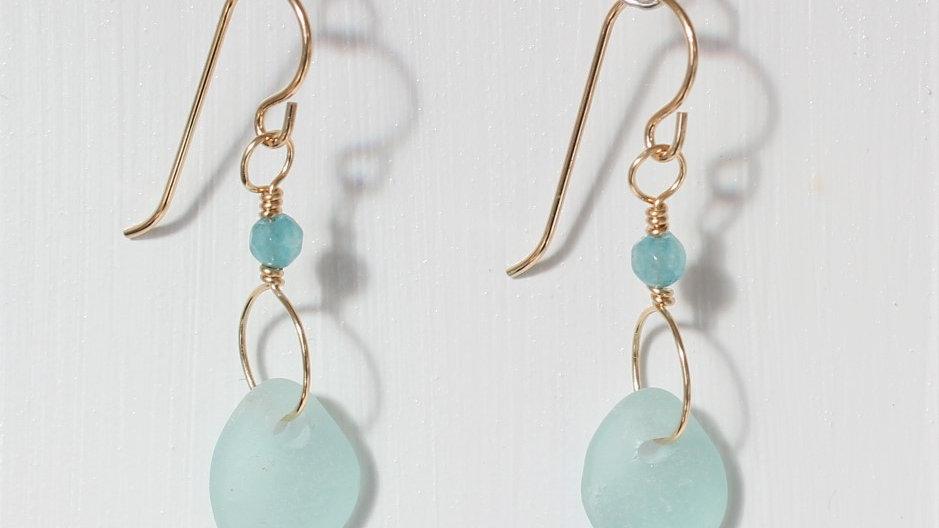 Aqua Sea Glass 14k Gold Filled Earrings by Victoria -20037