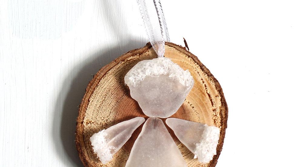 Sea Glass Redwood Slice Angel Ornament by Serena -9131