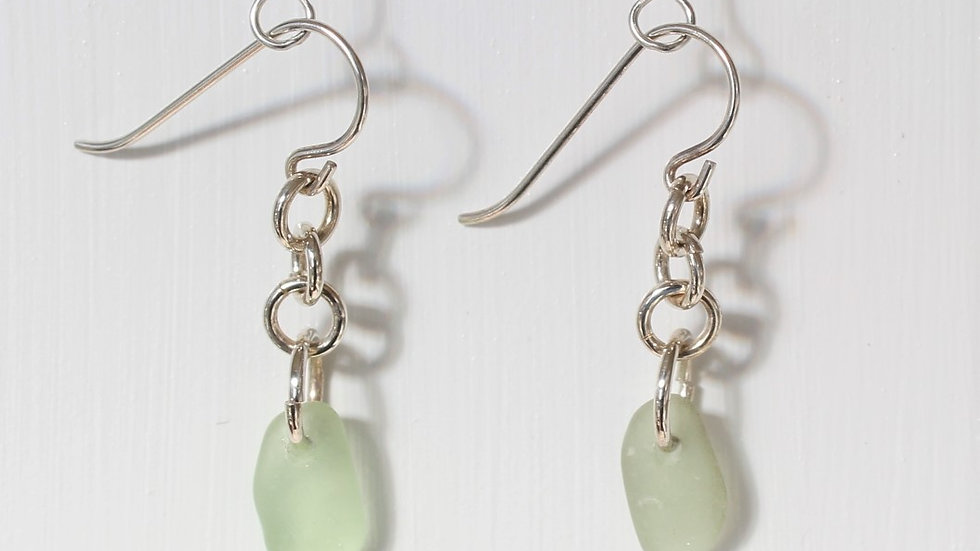 Light Green Sea Glass Sterling Silver Earrings by Victoria -19210