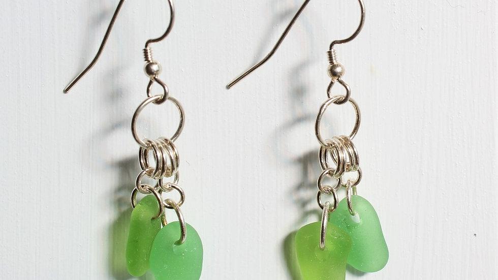 Green Sea Glass Sterling Silver Earrings by Nicola -165