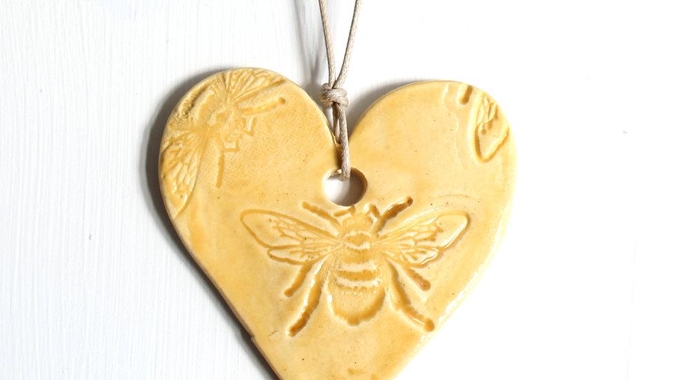 Yellow Heart Bee Ornament by Jen -9110