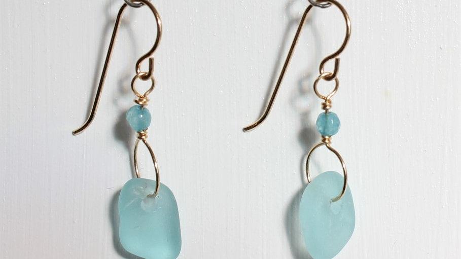 Aqua Sea Glass 14k Gold Filled Earrings by Victoria -20038