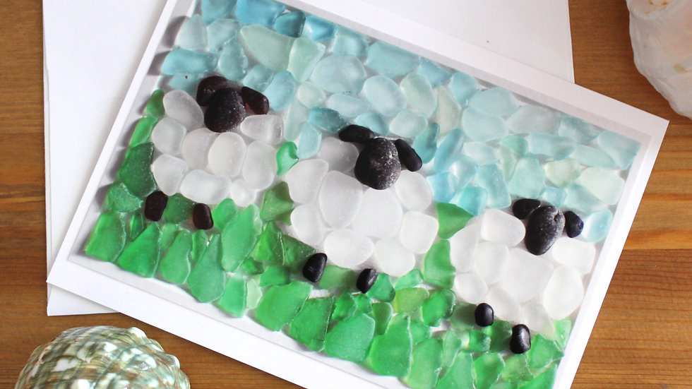 Three Sheep Sea Glass Photo Card by Eileen