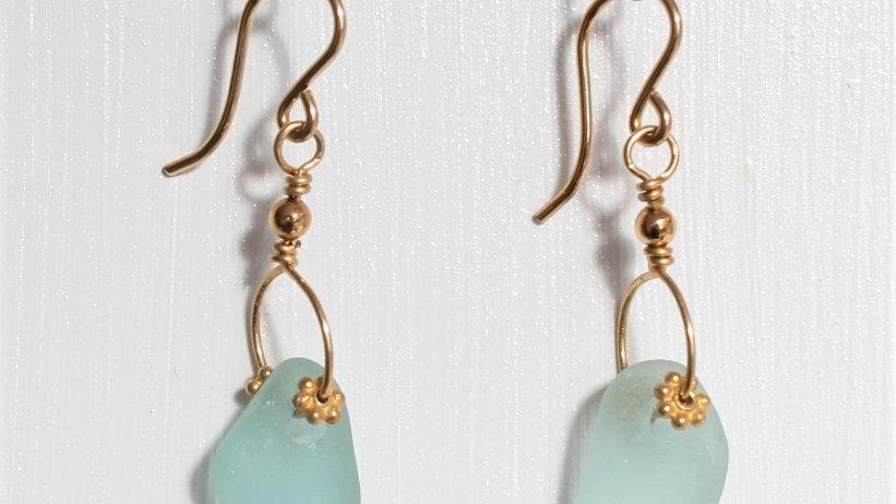 Aqua Sea Glass 14k Gold Filled Earrings by Victoria -19032