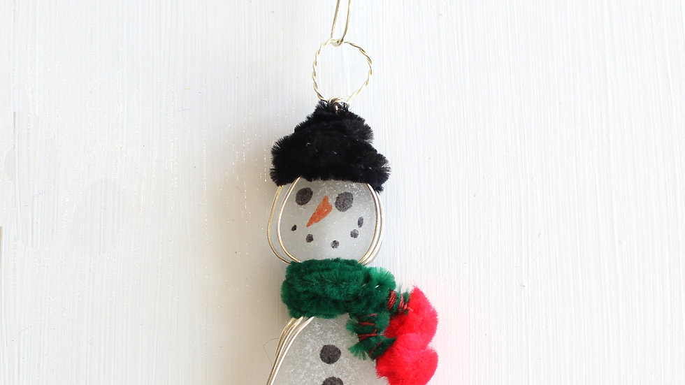Snowman Sea Glass Ornament by Victoria -19356