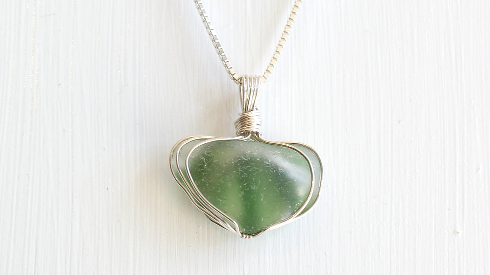Green Multi Sea Glass Sterling Silver Necklace by Victoria -20013