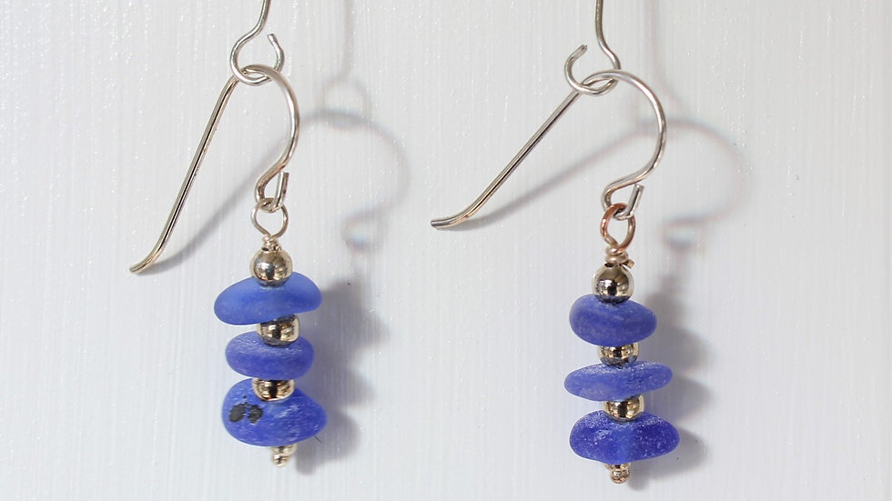 Cobalt Sea Glass Sterling Silver Earrings by Victoria -19260