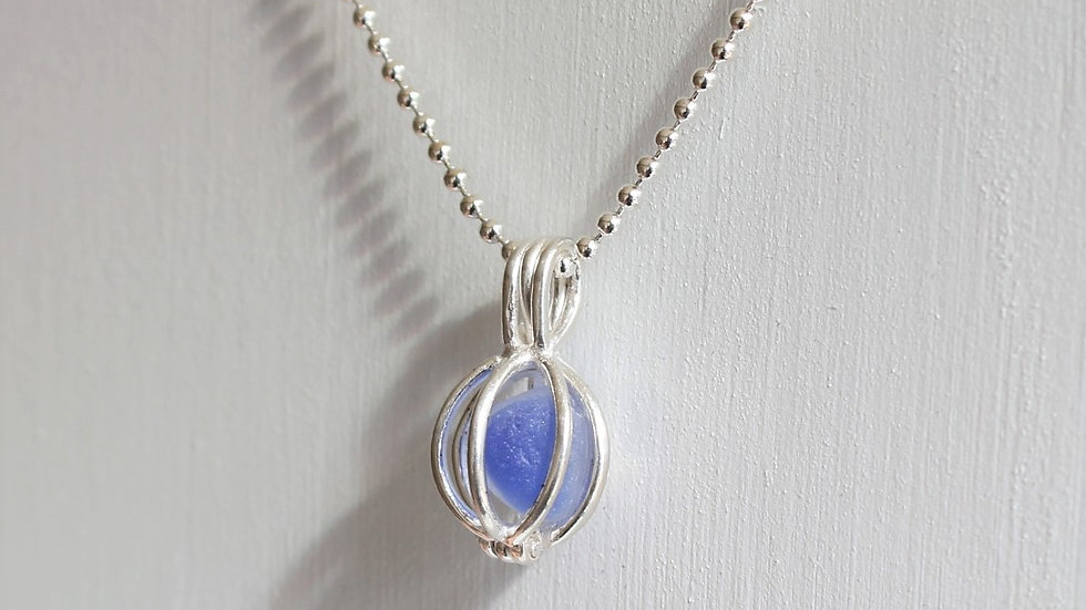 Cobalt Multi Sea Glass Sterling Silver Cage Necklace by Nicola -490