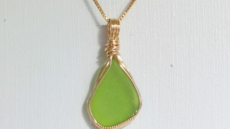 Lime Green Sea Glass 14k Gold Filled Necklace by Victoria -20053