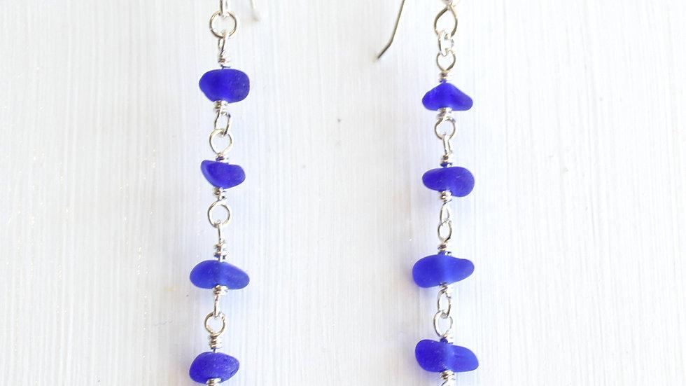 Cobalt Sea Glass Sterling Silver Earrings by Nicola -496