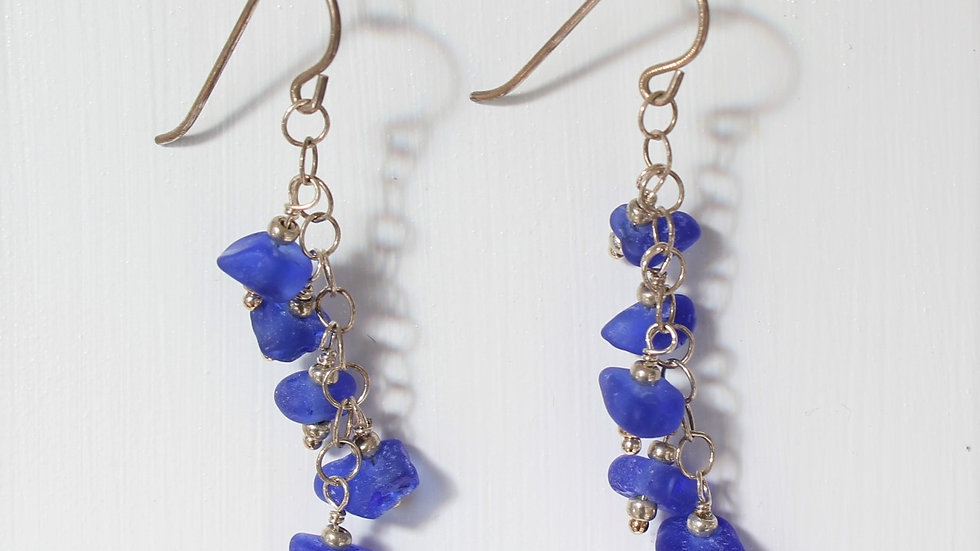 Cobalt Sea Glass Sterling Silver Earrings by Victoria -19166