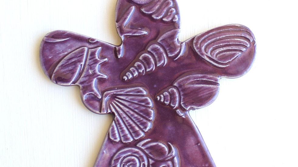 Purple Angel Ceramic Ornament by Jen -0689