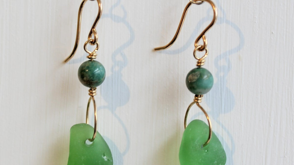 Green Sea Glass 14k Gold Filled Earrings by Victoria -19175