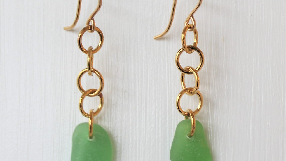 Green Sea Glass 14k Gold Filled Earrings by Victoria -19075