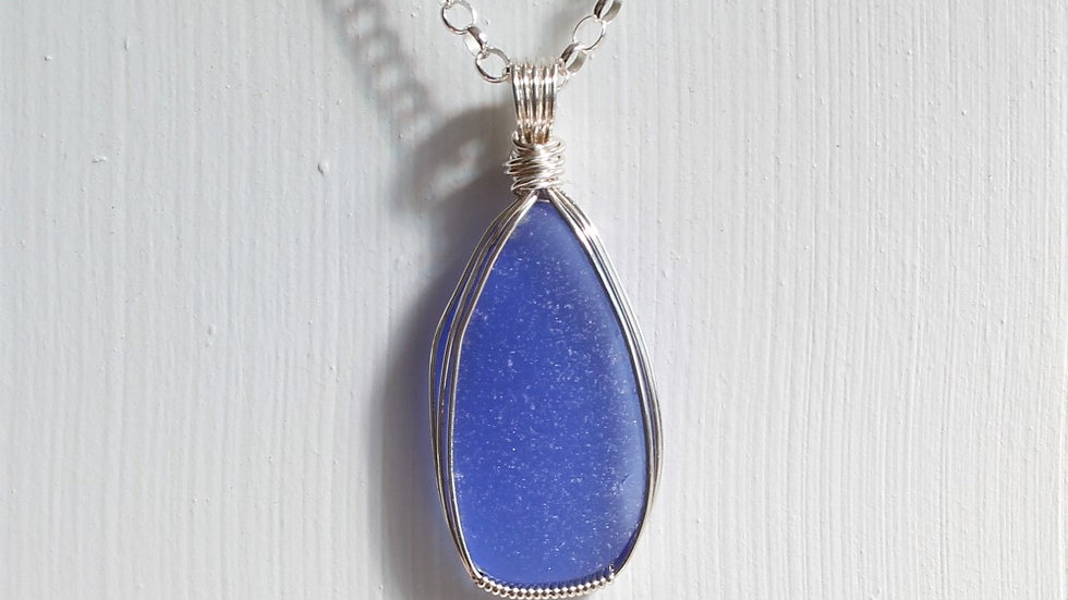 Cornflower Sea Glass Sterling Silver Necklace by Victoria -20050