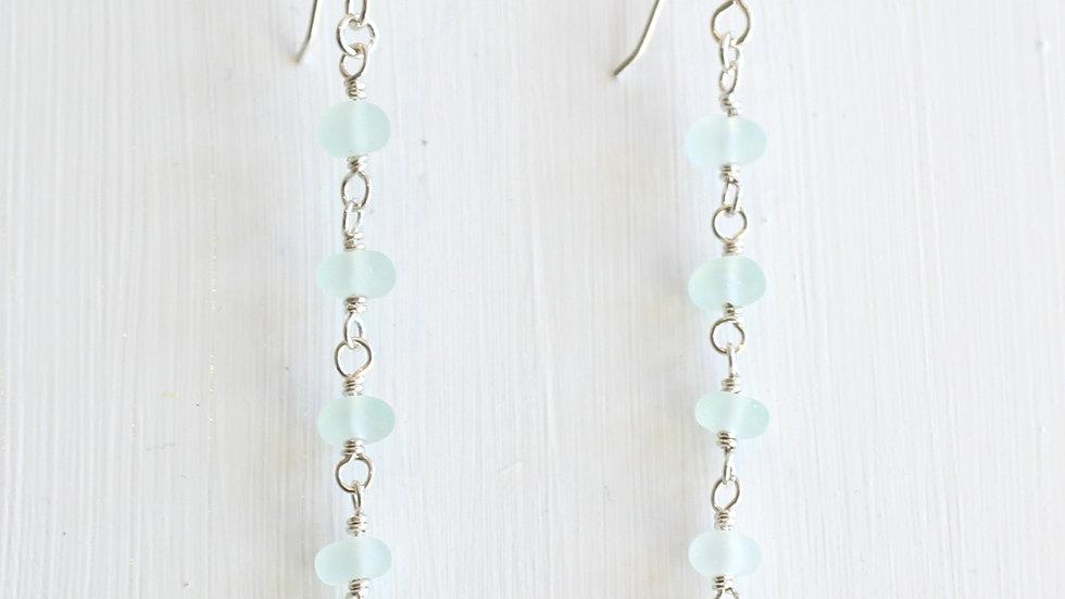 Aqua Sea Glass Sterling Silver Earrings by Nicola -493