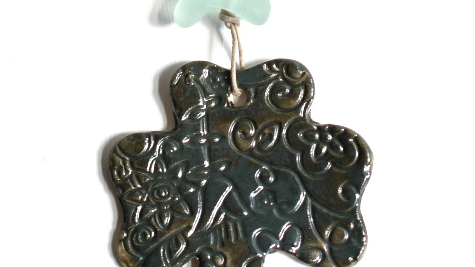Dark Green Shamrock Ceramic Ornament w/ Sea Glass by Jen -9091
