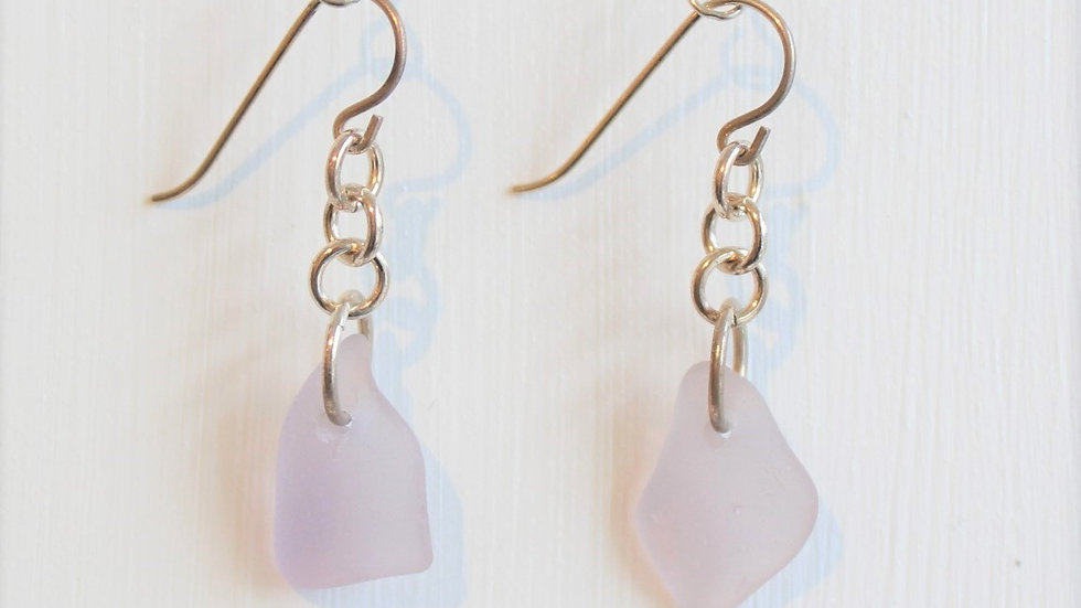 Lavender Sea Glass Sterlng Silver Earrings by Victoria -19206