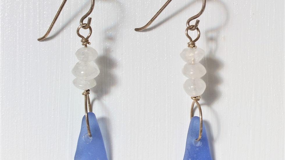 Cornflower Blue Sea Glass Moonstone Sterling Silver Earrings by Victoria -19082